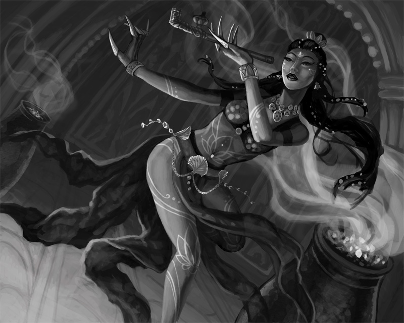 Lotus Dancer Black and White Draft