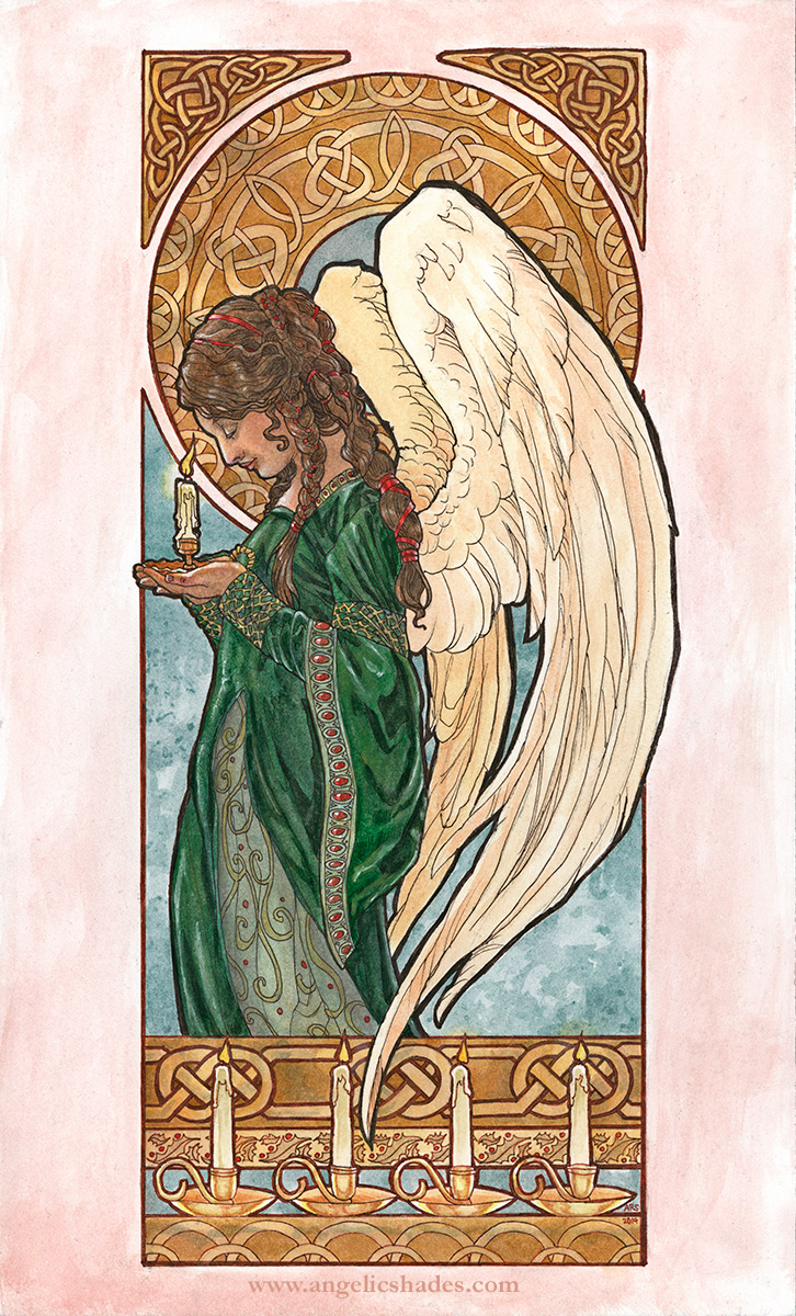 """Christmas Angel"" Watercolor and inks on 8.5x14 inch illustration board.  Cards and Art Gifts - http://www.deviantart.com/print/37246289/   Original for Sale Direct From Artist:  - Unmatted - $650   - Matted and Framed - $750  * Shipping to be determined based on your location.  E-mail me if interested."